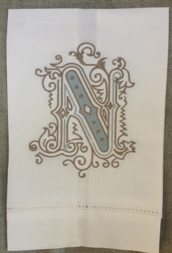 Heirloom Vintage Initial Hand Towel