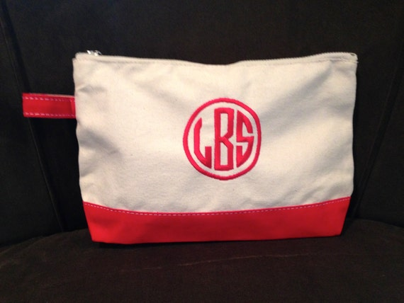 Monogrammed Bag- Red and Natural