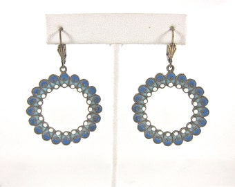 67db44c3e Vintage Anne Koplik Designs Blue And White Enamel Hand-Crafted Lever Back  Dangle Hoop Earrings-Made In USA