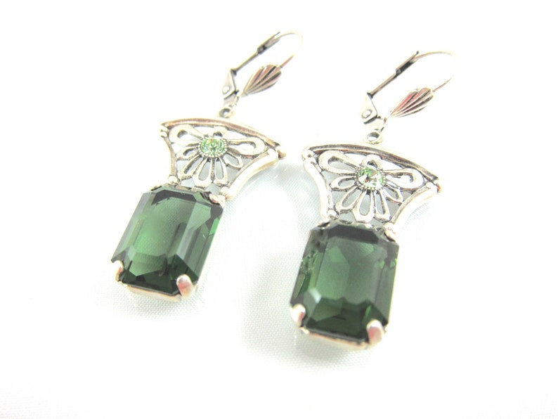 735fa98a3c7cc Vintage Catherine Popesco Green Swarovski Crystal And Sterling Silver Art  Deco Style Floral Dangle Earring-Made In France-Free USA Shipping