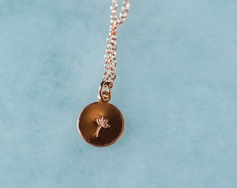 Hand-Stamped Dandelion Necklace, Plant Necklace, Dainty Necklace, Gold Filled Necklace, Dainty Layering Necklace