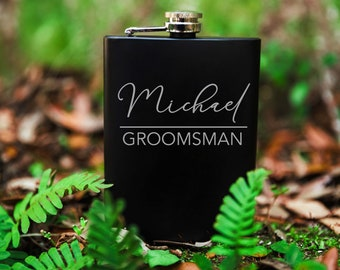 Men's Stainless Steel Flask, Groomsman Gift Flask, Custom Groomsman Gifts