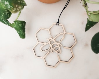 Wooden Bee & Honeycomb Ornament, Christmas Tree Ornament, Christmas Gift, Honey Bee, Christmas Decorations, Tree Decorations