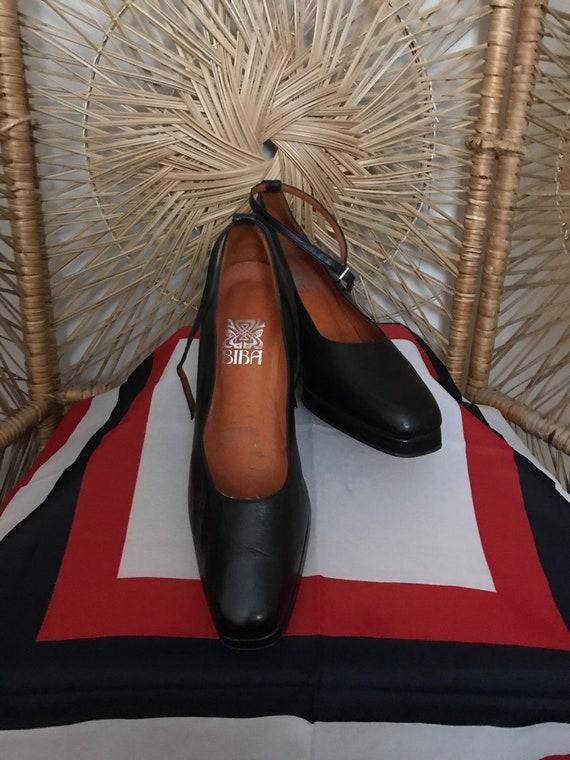 Biba Leather Wedge Shoes