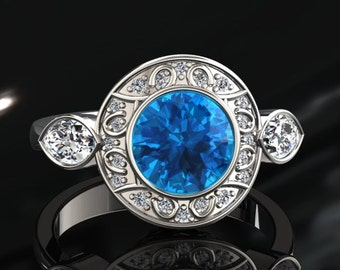 Topaz Engagement Ring 1.00 Carat Blue Topaz And Diamond Ring 14k or 18k White Gold Style Number W19BU2W