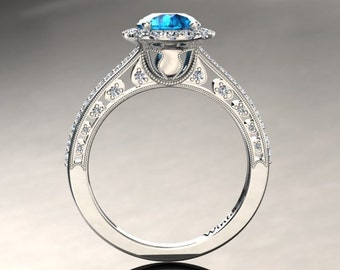 Topaz Engagement Ring 1.00 Carat Blue Topaz And Diamond Ring In 14k or 18k White Gold Style Number W5BU2W