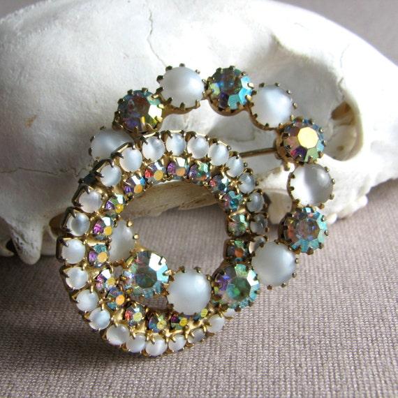Vintage Brooch, Rhinestone Brooch, Rainbow Jewelr… - image 2