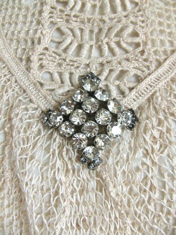 Vintage Silver Brooch, Rhinestone Brooch, 1950's … - image 2