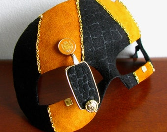 Steampunk Mask, Orange Suede, Black Giraffe Felt, Gold Monocle - Rogue Duke