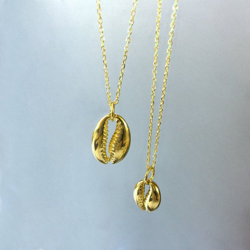 silver shell necklace gold cowrie necklace gold shell necklace layered necklace Dainty shell necklace 925 sterling silver necklace