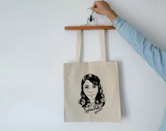 Tote Bag - Screenprint Over Cotton Canvas Tote Bag Sylvia Plath