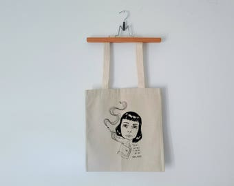 Tote Bag - Screenprint Over Cotton Canvas Tote Bag Carson McCullers