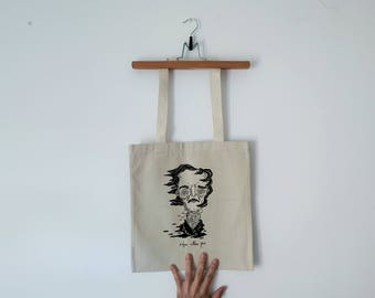 Tote Bag - Screenprint Over Cotton Canvas Tote Bag Edgar Allan Poe