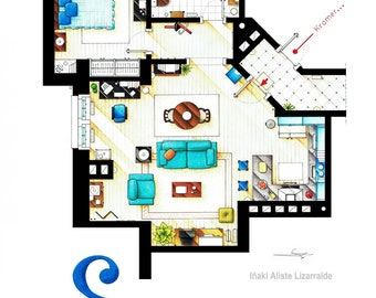 Floorplan of Jerry Seinfeld's apartment from SEINFELD