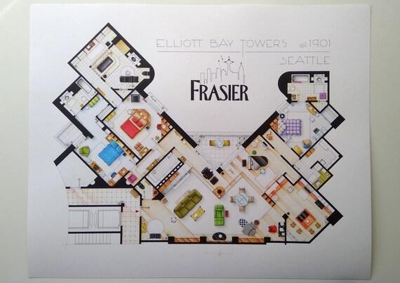 Floorplan Of The Apartment From Frasier Etsy