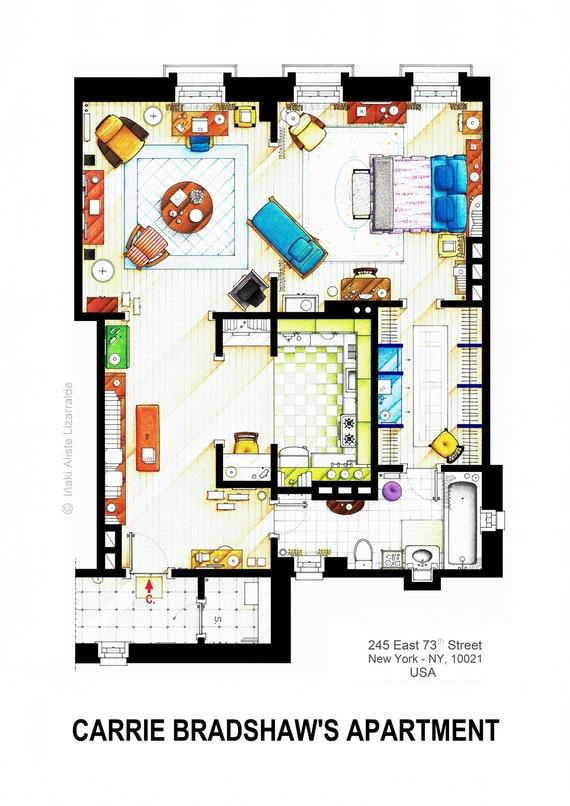 carrie bradshaw grundriss wohnung von sex the city. Black Bedroom Furniture Sets. Home Design Ideas
