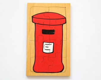 Vintage wooden hand-painted jigsaw puzzle in iconic red postbox design, Christine Thomas Design