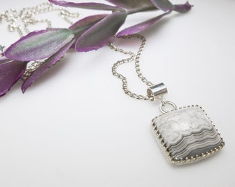 White Lace Agate Pendant.  White Lace Pendant in Sterling Silver Gallery Setting. Fancy Bezel Set Agate Pendant. Bridal Necklace.