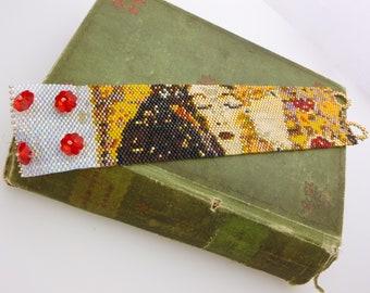 "Hand Beaded ""The Kiss"" Bracelet. Peyote Stitched Fine Art Bracelet Gustav Klimt ""The Kiss""."