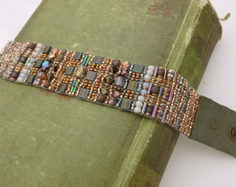 Hand Loomed Beaded Bracelet.  Bead Loomed Bracelet in Copper Palette with Recycled Leather Ends. Adjustable Czech Glass Beaded Bracelet
