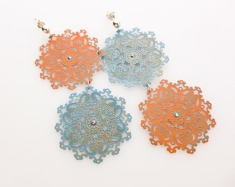 Boho Filigree Earrings on Sterling Posts. Orange and Aqua Filigree Statement Earrings with Swarovski Crystal Accents. Mismatched Earrings