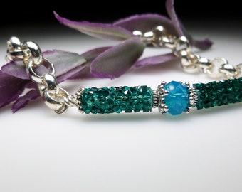 "Swarovski Crystal Rocks Bracelet on Chunky Silver Rolo Chain. Emerald Green ""Druzy"" Focal Bracelet on Silver Plated Chain"