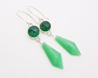 Dramatic Bezel Set Faceted Green Onyx and Chrysoprase Chalcedony Drop Earrings on Hand Made Sterling Silver Ear Wires