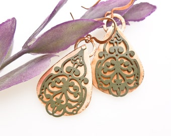 Copper Teardrop Earrings with Filigree Overlay. Copper Teardrop Earrings with Scrolled Overlay. Copper and Filigree Earrings.Riveted Earring