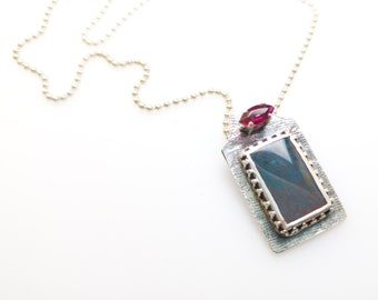 Bloodstone Gemstone Sterling Silver Pendant with Lab Created Marquis Ruby Accent