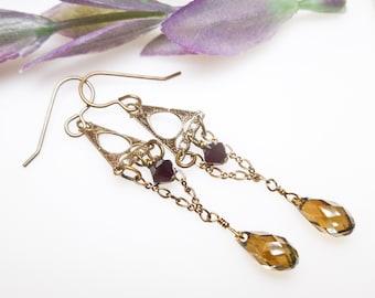 Vintage Look Antique Brass Swarovski Crystal Drop Earrings. Bronze and Garnet Swarovski Crystal Earrings. Antique Brass Art Deco Earrings