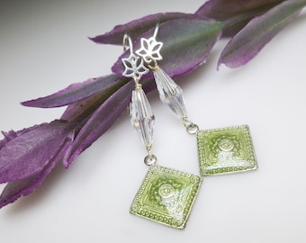 Vintage Peridot Enamel and Swarovski Crystal Earrings. Sterling Lotus Flower and Enamel Earrings.  Delicate Peridot Enamel Earrings