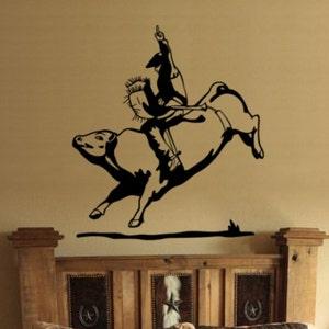 Bull Riding Decal Boys Room Teen Room Wall Decal  27 X 33 inches Bull Riding Rodeo Decal Cowboy Decal Rodeo Bull Riding Sticker