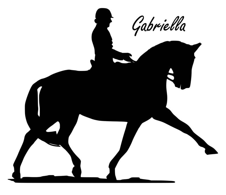 Horse Horse Personalized-Dressage Horse Decal-Dressage Personalized-Horse and Rider Wall Decal-Teen Room-Child/'s Room-Equine Decor 27 X 22