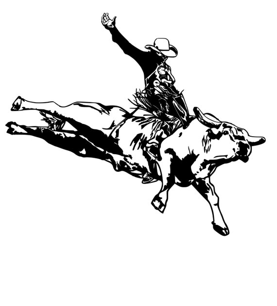 BULL RIDING DECAL BULL RIDER VINYL STICKER WESTERN COWBOY  PBR  jinete del toro