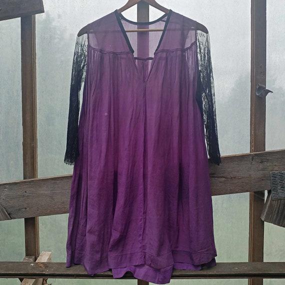 Late 1800's, French Victorian, Purple Silk & Black