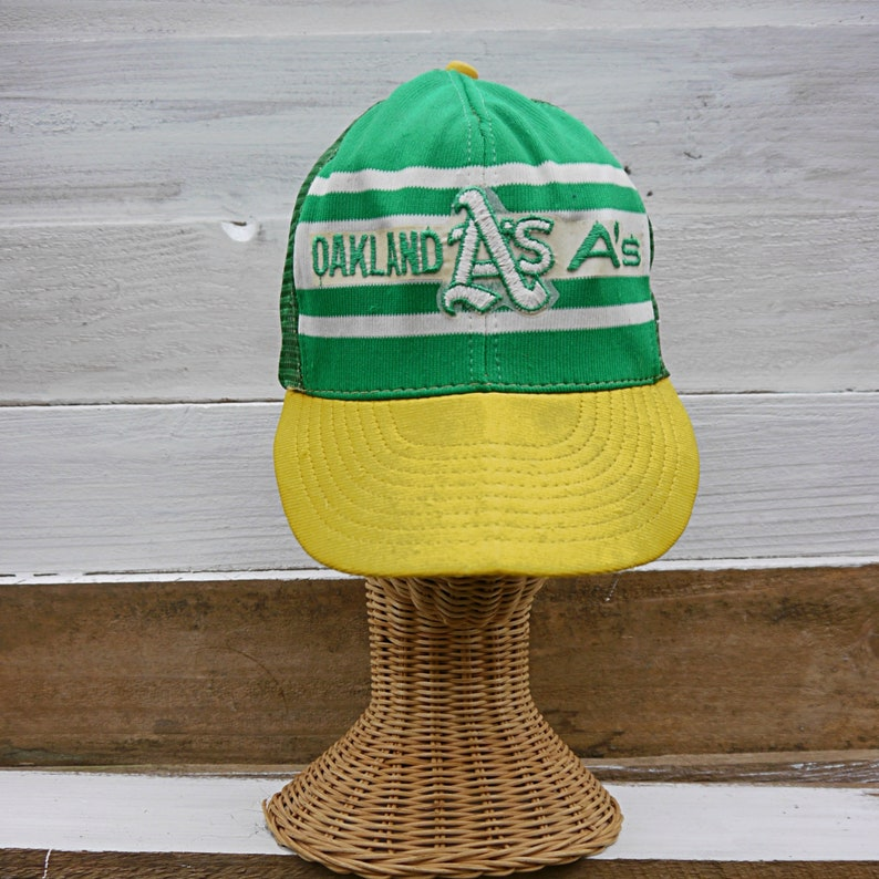 a1ae9721e 1970's/1980's Oakland A's, California, Major League Baseball, Dorfman  Pacific, L/XL Snapback/Mesh, Flat Brim Hat