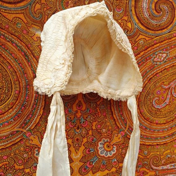 Antique, Edwardian/Victorian Silk Baby Bonnet - image 3
