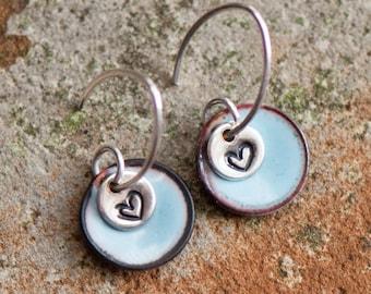 Sweet Heart Charm Earrings, Light Blue Topaz Enamel Discs, Sterling Silver, Handstamped Jewelry, Gift for Girl, Birthstone Colors, Dangle