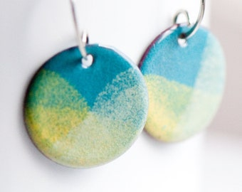 Penny Size 3/4 inch Copper Enameled Earrings, Blue Yellow Cream, Sterling Silver Ear Wires, Bright Fresh Jewelry