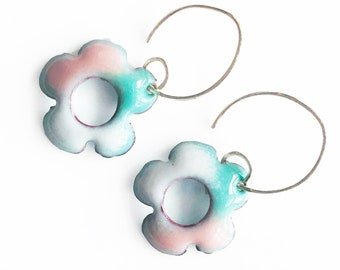 3/4 inch Boho Flower Earrings, Enamel Earrings, Preppy Pretty, Handmade Enamel Jewelry, Torch Fired, Dangle Earring, Pink Green, Hippie Boho