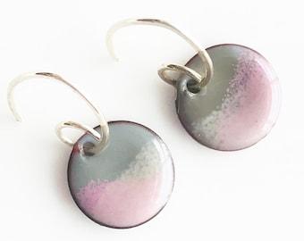 Sweet Small Half Inch Enamel Earrings, Purple and Gray, Glass on Copper, Handmade Sterling Silver Ear Wires, Torch Fired Enamel Earrings