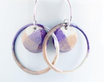 Bold Beautiful Summer Celebrating Earrings, Copper Enamel, Hippie Boho Jewelry, Dangle Drop Earrings, Statement Jewelry, Artsy Earrings