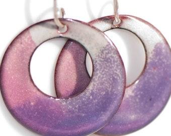 Artsy Boho Enamel Earrings, Handmade Copper Enamel, Purple Pink Cream, Torch Fired, Handmade Sterling Silver Wires