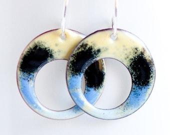Simple Single Hoop Earrings, Copper Enamel, Yellow Blue Black, Swallowtail Colors, Handmade Sterling Ear Wires, Hippie Boho, Artsy Earrings