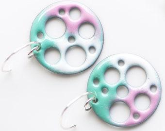 1-inch Copper Enamel Earrings, Movie Reel, Preppy Colors, Modern Geometric Jewelry, Sterling Silver Ear Wires, Unique Earrings, Pastel Pink