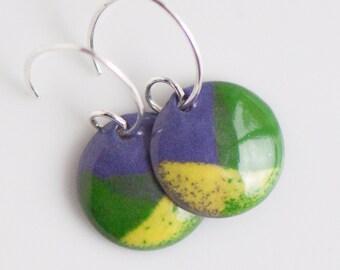 Colorful Earrings, Copper Enamel, Purple Green Yellow, Handmade Sterling Silver Ear Wires, 5/8 inch (15mm) Discs, Boho Dangle Drop Earrings