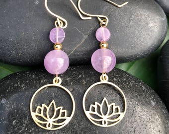 Gold Lotus Dangles with Amethyst:Passion