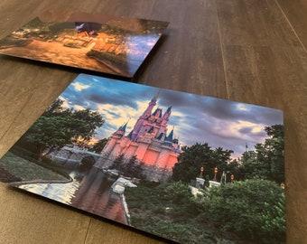 Metal print Cinderella Castle w/ glitter resin