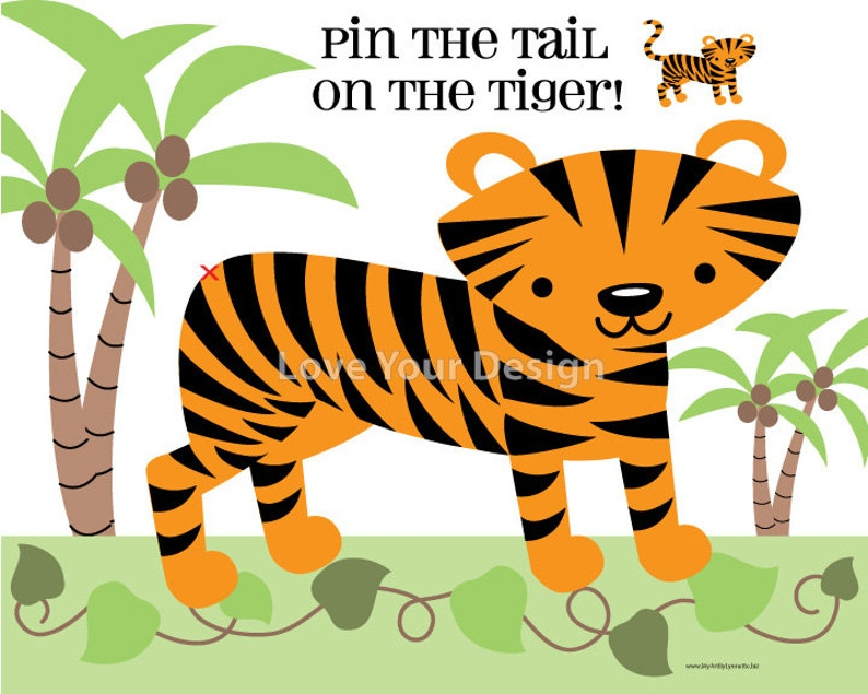 graphic about Pin the Tail on the Donkey Printable referred to as Recreation Pin the Tail upon the Tiger Birthday Sport Tiger Coloring Web site- Electronic jpeg report for printing Prompt Obtain