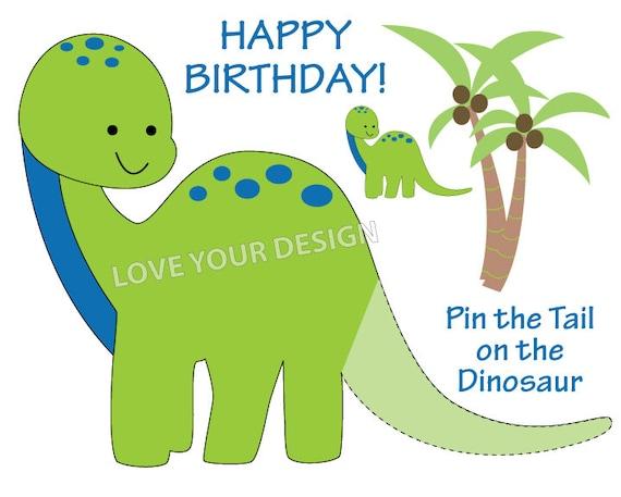 Dinosaur Pin The Tail On Birthday Game